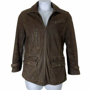 Vintage Guess Leather Jacket Zip Up Quilted Lining